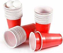 aoory Party Becher 100 Stück Beer Pong Kunststoff