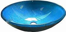 AOSHE Waschbecken Blau Glasbehälter Vanity Round Basin Und Einbauring