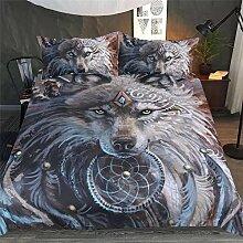 AOTE 3D 3 Stück Bettwäsche Set Wolf Printed