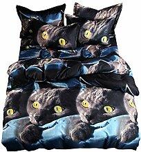 AOTE 3d Bettbezug Kissenbezug Katze 3 Stück Set