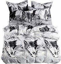 AOTE 3d Bettbezug Wolf Grau Doppel Große