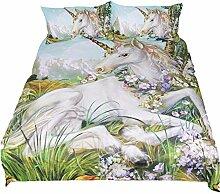 AOTE Bettbezug 3er Set Kissenbezug Unicorn Animal