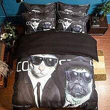 AOTE Bettbezug Kopfkissenbezug Bettwäsche Katze