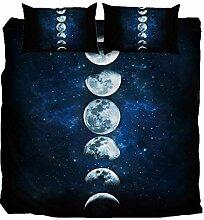 AOTE Bettwäsche Set, Mond Printing, Bettbezug mit