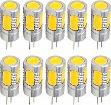 Aoxdi 10X G4 LED Birne 4W, Warmweiß, DC12V, COB