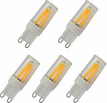 Aoxdi 5x G9 LED 2 Watt Dimmbar Glühfaden,