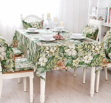 AOyEKXD Tischdecke Bambus Blatt Blume Baumwolle