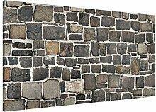 Apalis 108735 Magnettafel Bruchsteintapete Natursteinwand Memoboard Design Quer Metall Magnet Pinnwand Motiv Wand Stahl Küche Büro, 37 x 78 cm
