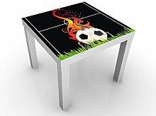 Apalis 46120-276698-855816 Design Tisch No.EG5 Football on Fire, 55 x 55 x 45 cm, schwarz
