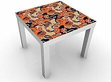 Apalis 58841-330425-855817 Design Tisch Grafik mit Paisleys, 55 x 55 x 45 cm, weiß