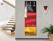 Apalis 78142 Wandgarderobe Deutschlandfahne geschwungen | Design Garderobe Garderobenpaneel Kleiderhaken Flurgarderobe Hakenleiste Holz Standgarderobe Hängegarderobe | 139x46cm