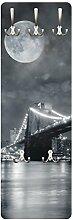 Apalis 79159 Wandgarderobe Manhattan Mysteries | Design Garderobe Garderobenpaneel Kleiderhaken Flurgarderobe Hakenleiste Holz Standgarderobe Hängegarderobe | 139x46cm