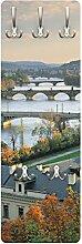 Apalis 79330 Wandgarderobe Prag | Design Garderobe Garderobenpaneel Kleiderhaken Flurgarderobe Hakenleiste Holz Standgarderobe Hängegarderobe | 139x46cm
