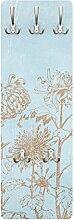 Apalis 79345 Wandgarderobe Radierung in Blau | Design Garderobe Garderobenpaneel Kleiderhaken Flurgarderobe Hakenleiste Holz Standgarderobe Hängegarderobe | 139x46cm