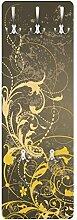 Apalis 79457 Wandgarderobe Schnörkel in Gold | Design Garderobe Garderobenpaneel Kleiderhaken Flurgarderobe Hakenleiste Holz Standgarderobe Hängegarderobe | 139x46cm