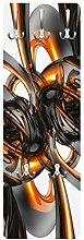 Apalis 79488 Wandgarderobe Shining Orange Circles | Design Garderobe Garderobenpaneel Kleiderhaken Flurgarderobe Hakenleiste Holz Standgarderobe Hängegarderobe | 139x46cm