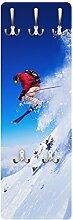 Apalis 79505 Wandgarderobe Skisprung am Hang | Design Garderobe Garderobenpaneel Kleiderhaken Flurgarderobe Hakenleiste Holz Standgarderobe Hängegarderobe | 139x46cm