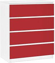 Apalis 91226 Möbelfolie für Ikea Malm Kommode - selbstklebende Colour, größe 4 mal, 20 x 80 cm, carmin