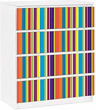 Apalis 91267 Möbelfolie für Ikea Malm Kommode - selbstklebende Happy Stripes, größe 4 mal, 20 x 80 cm