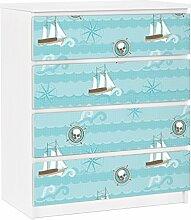Apalis 91283 Möbelfolie für Ikea Malm Kommode - selbstklebende Marine Ornament, größe 4 mal, 20 x 80 cm