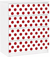 Apalis 91295 Möbelfolie für Ikea Malm Kommode - selbstklebende nummer DS92 Punktdesign Girly, größe 4 mal, 20 x 80 cm, weiß