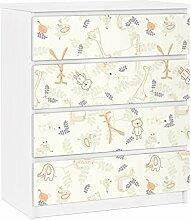 Apalis 91317 Möbelfolie für Ikea Malm Kommode - selbstklebende Pastel Plushies, größe 4 mal, 20 x 80 cm
