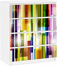 Apalis 91328 Möbelfolie für Ikea Malm Kommode - selbstklebende Rainbow Cubes, größe 4 mal, 20 x 80 cm