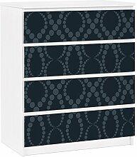 Apalis 91343 Möbelfolie für Ikea Malm Kommode - selbstklebende Schwarze Perlen Ornamen, größe 4 mal, 20 x 80 cm