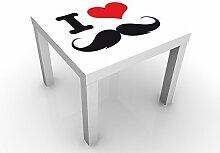 Apalis 91586-666002-1373815 Design Tisch No.YK25 I Love Moustache, weiß