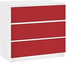 Apalis 91615 Möbelfolie für Ikea Malm Kommode Colour, größe 3 mal, 20 x 80 cm, carmin