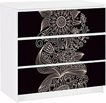 Apalis 91683 Möbelfolie für Ikea Malm Kommode Lovely Floral Background, größe 3 mal, 20 x 80 cm