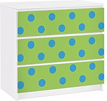 Apalis 91702 Möbelfolie für Ikea Malm Kommode nummer DS92 Punktdesign Girly, größe 3 mal, 20 x 80 cm, grün