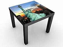 Apalis 93514-667930-1373810 Design Tisch New York At Night, 55 x 55 x 45 cm, schwarz