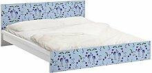 Apalis 93821 Möbelfolie für Ikea Malm Bett niedrig 160x200 cm - Mille Fleurs Musterdesign, größe 77 x 177 cm, blau