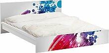 Apalis 93862 Möbelfolie für Ikea Malm Bett niedrig 160x200 cm - Rainbow Wave and Bubbles, größe 77 x 177 cm