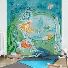 Apalis Kindertapeten Vliestapeten Matilda wird Akrobatin Fototapete Quadrat | Vlies Tapete Wandtapete Wandbild Foto 3D Fototapete für Schlafzimmer Wohnzimmer Küche | Größe: 336x336 cm, türkis, 95384