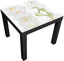 Apalis Tisch mit Orchideenbild - Wellness Orchidee - Orchidee in Weiß Tischfarbe:weiss;Größe:55 x 55 x 45cm