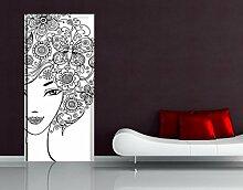 Apalis Türtapete mit Blumen im Haar, 221 x 106 cm