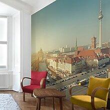 Apalis Vliestapete Berlin am Morgen Fototapete Quadrat | Vlies Tapete Wandtapete Wandbild Foto 3D Fototapete für Schlafzimmer Wohnzimmer Küche | Größe: 288x288 cm, mehrfarbig, 95256
