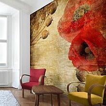 Apalis Vliestapete Blumentapete Poppy Flower Fototapete Quadrat | Vlies Tapete Wandtapete Wandbild Foto 3D Fototapete für Schlafzimmer Wohnzimmer Küche | Größe: 240x240 cm, braun, 97921