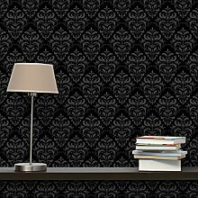 Apalis Vliestapete Dunkler Barock Mustertapete Quadrat | Vlies Tapete Wandtapete Wandbild Foto 3D Fototapete für Schlafzimmer Wohnzimmer Küche | Größe: 336x336 cm, schwarz, 98296