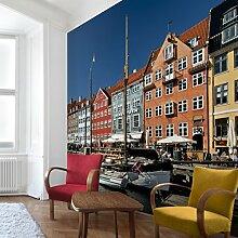 Apalis Vliestapete Hafen in Kopenhagen Fototapete Quadrat | Vlies Tapete Wandtapete Wandbild Foto 3D Fototapete für Schlafzimmer Wohnzimmer Küche | Größe: 192x192 cm, mehrfarbig, 95350