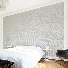 Apalis Vliestapete Nummer DS4 Zebrastreifen Fototapete Breit | Vlies Tapete Wandtapete Wandbild Foto 3D Fototapete für Schlafzimmer Wohnzimmer Küche | grau, 94741