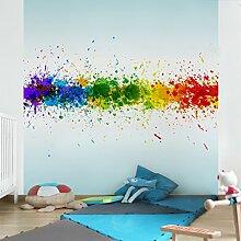 Apalis Vliestapete Rainbow Splatter Fototapete