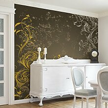 Apalis Vliestapete Schnörkel in Gold und Silber Fototapete Quadrat | Vlies Tapete Wandtapete Wandbild Foto 3D Fototapete für Schlafzimmer Wohnzimmer Küche | Größe: 288x288 cm, gelb, 97983
