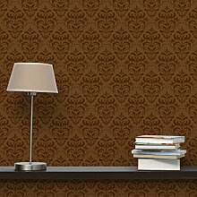 Apalis Vliestapete Schoko Barock Mustertapete Quadrat | Vlies Tapete Wandtapete Wandbild Foto 3D Fototapete für Schlafzimmer Wohnzimmer Küche | Größe: 336x336 cm, braun, 98332