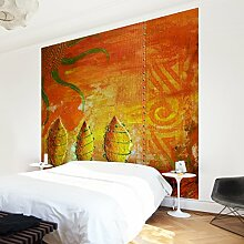Apalis Waldtapete Vliestapete African Happiness Fototapete Quadrat | Vlies Tapete Wandtapete Wandbild Foto 3D Fototapete für Schlafzimmer Wohnzimmer Küche | Größe: 288x288 cm, gelb, 97478