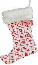APELT 4911_24x32_23 Stiefel mit Pelzbesatz 4911 Mosaol/Weihnachtsmotive, circa 24 x 32 cm, weiß/ro