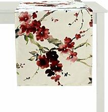 APELT Hanami_48x135_20 Tischläufer, natur mit Kirschblüten