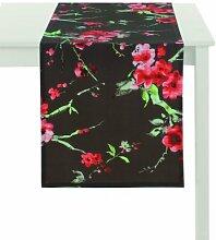 APELT Hanami_48x135_89 Tischläufer, anthrazit mit Kirschblüten